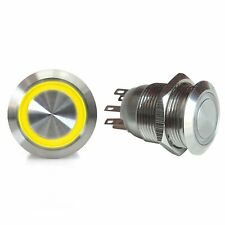 19mm Momentary Billet Button with LED Yellow Ring AutoLoc AUTSW42Y hot rod