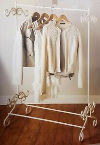 Vintage Style Metal Shabby Chic Cream Garment Rail Clothes Hanging Stand -0083
