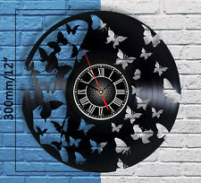 Butterfly Decorations Vinyl Record Wall Clock Vintage Art Home Decor Figurine