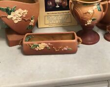 New listing 1948 Roseville Glass Co Apple Blossom Planter. Coral Pink. #368-8. Raised Relief