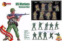 """Mars Figures 32005 """"US Marines Vietnam War 15 figures/8 poses"""" Plastic Kit 1/32"""
