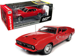 """1971 FORD MUSTANG MACH 1 RED JAMES BOND """"DIAMONDS ARE FOREVER"""" 1/18 CAR AWSS126"""
