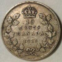 1929 CANADA SILVER TEN CENTS Coin