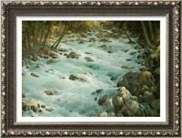 "Hand painted Original Oil Painting art landscape brook on canvas 24""x36"""