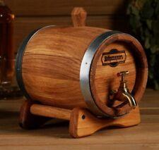 Oak barrel on stand, 1.5l, metal hoop, brass faucet