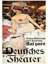 THEATRE CULTURAL MASKED BALL GERMANY VINTAGE RETRO ADVERTISING POSTER ART 2130PY