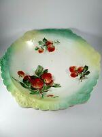 """Vintage Sevres Ceramic Serving Bowl, Strawberries Green Trim 10"""""""