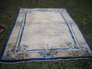 GORGEOUS ANTIQUE 1920'S CHINESE ART DECO RUG 6.4X9.5