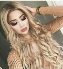 Synthetic Hair Wigs For Women Honey Blonde Ombre Lace Front Water Wave Curly Wig