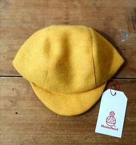 Unique Handmade Harris Tweed Cycling Cap, Citrus Yellow.