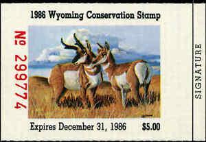 Wyoming #3 1986 État Canard Tampon Pronghorn Antilope Par Dan Andrews