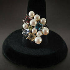 Ross Simons QVC Cultured Pearl & Multi-Gemstone Cocktail Ring - Sterling 8