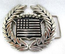 "Famous Stars & Straps Caddy Logo USA Flag Silver-tone Belt Buckle 3.5""w x 3.25""t"