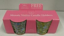 NEW Vintage Hallmark Mosaic Votive Candle Holders Set Of 2 In Box Green And Blue