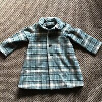 Vintage Childs Wool Coat Aqua Black Plaid 3-4 Toddler