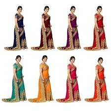 Indian New Latest Wedding Wear Women's Embroidery Designer Silk Saree