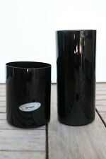 Pier 1 Hand Blown All Black Flat Highball Glass Tumblers  Old Fashion Choose One