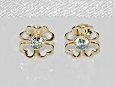 9ct Gold Blue Topaz Shamrock Ladies Stud Earrings -