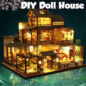 Japanese Villa Dollhouse DIY Doll House Miniature Furniture LED Light Kit