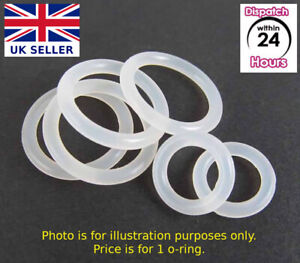 FOOD GRADE O-Ring. VARIOUS SIZES. CLEAR SILICONE Rubber O Rings. Just buy 1 or 2