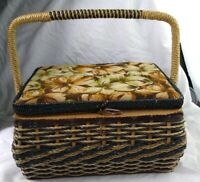 Vintage SEWING BASKET w/ swing handle Padded Flower Top Pin Cushion inside