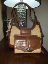 Maggie Barnes - Vinyl Straw Woven/Faux Leather Trim Shoulder Bag with Wallet #7
