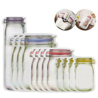 10/12Pcs Jar Shape Zipper Bag Reusable Snack Saver Food Sandwich Storage Pouch A