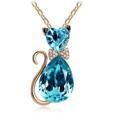 Women Crystal Rhinestone Cat Chain Pendant Necklace Charm Jewelry  blue