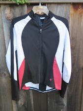 Womens SPECIALIZED Cycling Jacket Back Pockets Zipper Front Black Red White M
