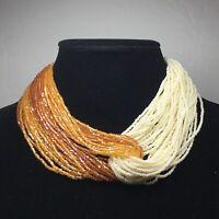 Orange & White Multi Strand Glass Seed Beaded Necklace Heavy Vintage Choker