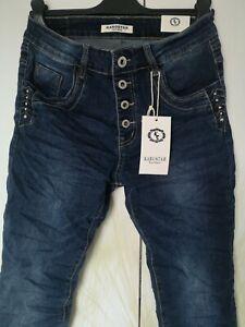 KAROSTAR 🚩Damen Jeans Hose Denim Baggy Jeans Ziersteine neustes Modell 38/40-48