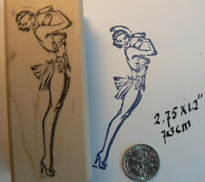 """P37  Pin up girl rubber stamp WM 3x1.25"""""""
