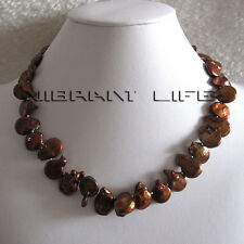 "18"" 13-14mm Coin Coffee Freshwater Pearl Necklace SQ U"