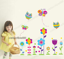 Colourful Owl Butterfly Flower Wall Stickers Nursery Decor Vinyl Art Paper Decal