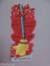 Vtg Broom Clean Sweep Valentine Card UNUSED