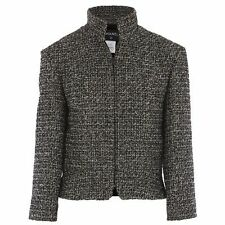 12 A $4585! NEW CHANEL BLACK WHITE FANTASY TWEED w gold SUIT FITTED JACKET 36