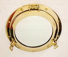 17 inch Brass Porthole Gold Finish Port Mirror Wall Hanging Ship Porthole Decor