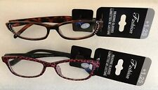 Womens Fashion Reading Glasses Brown Rhinestones & Pink Cheetah Print +1.25 2Pk