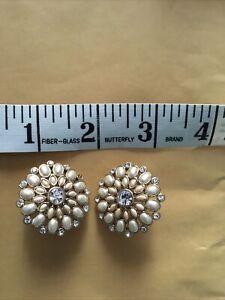 Large Vintage Clip on Monet Earrings White