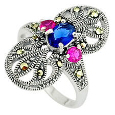 Art Deco Blue Sapphire Ruby Quartz 925 Sterling Silver Ring Size 7.5 C17554