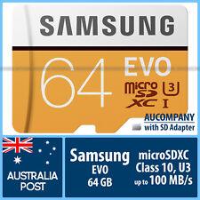 Samsung 64 GB 64G micro SD SDXC EVO Class10 100MB/s Memory Card TF SD Adapter S8