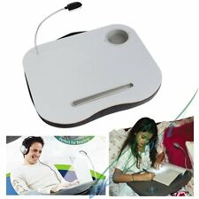 Portable Cushioned Laptop Desk Table with LED Lamp Light Cup Holder