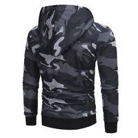 Mens' Long Sleeve Camouflage Hoodie Hooded Sweatshirt Tops Jacket Coat Outwear