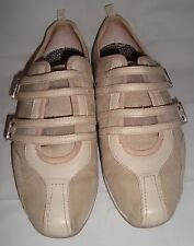 Aetrex Abbey Beige Leather Suede Double Strap Walking Shoes 7 Athletic Sneakers