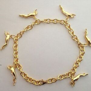 18K Gold Plated Solid Silver Greyhound Dog Charm Bracelet by Zedelle Jewellery