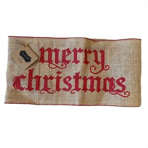 Mudpie Merry Christmas Pillow Wrap Tan Red Decorative Holiday Accent Burlap