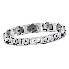 MENS SHINY POLISHED & MATTE FINISH TUNGSTEN DIAMOND ETERNITY BRACELET  * NEW
