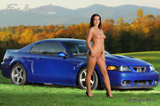 Nude Girl with 2003 Ford Cobra Mustang Sonic Blue