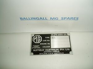 PLATE CHASSIS MGA AUSTRALIA ID PLATE NUFFIELD  408-720A