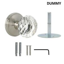 Diamond Crystal Glass Door Knobs with Satin Nickel Round Rosette, Dummy Dlc10Sn